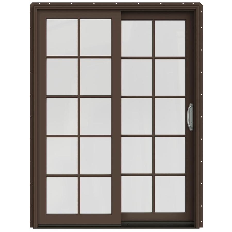 JELD-WEN W-2500 59.25-in 10-Lite Glass Dark Chocolate Wood Sliding Patio Door with Screen