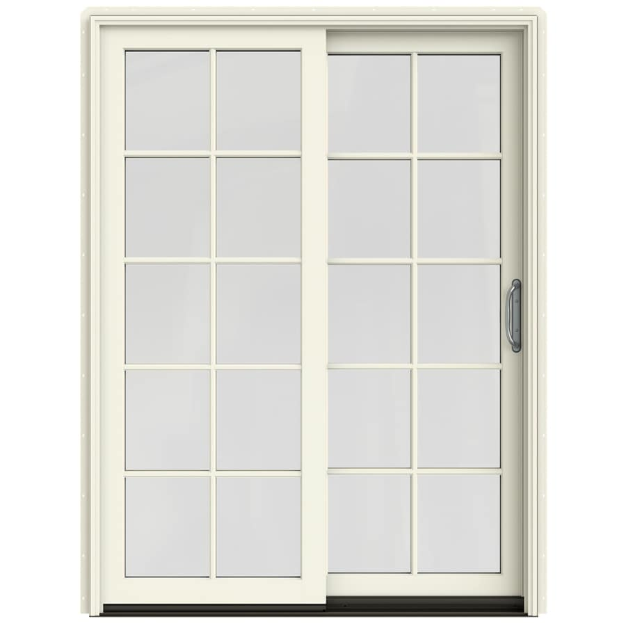 25 in 10 lite glass french vanilla wood sliding patio door with screen