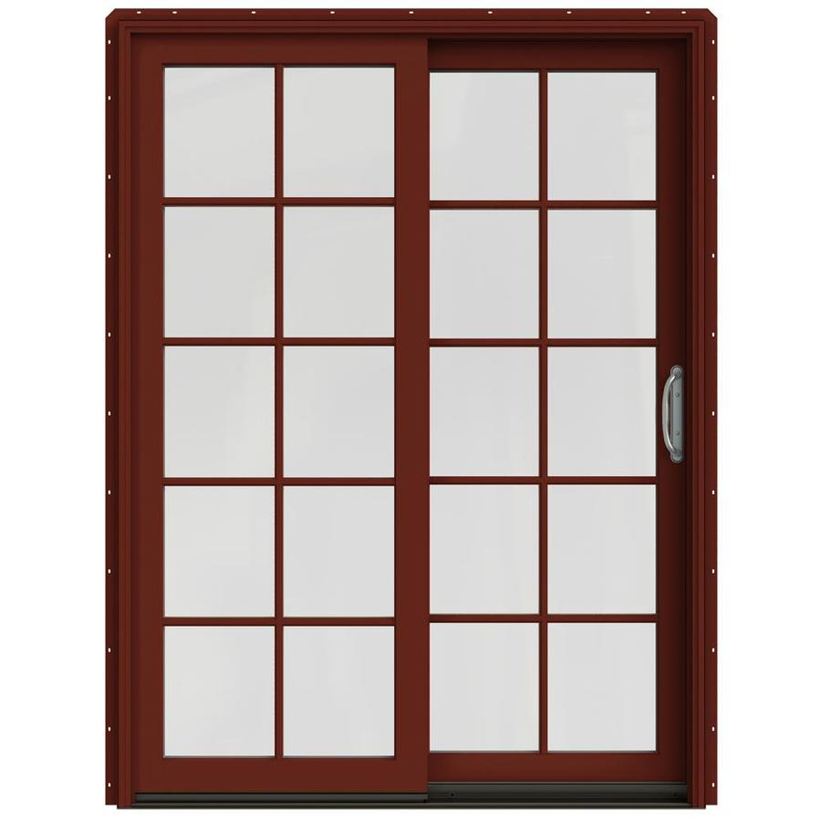 JELD-WEN W-2500 59.25-in x 79.5-in Right-Hand Red Sliding Patio Door with Screen