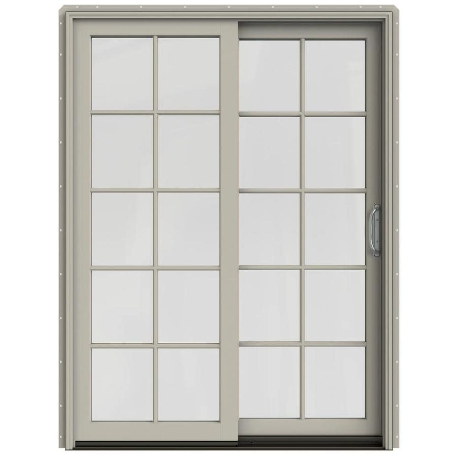 JELD-WEN W-2500 59.25-in 10-Lite Glass Desert Sand Wood Sliding Patio Door with Screen