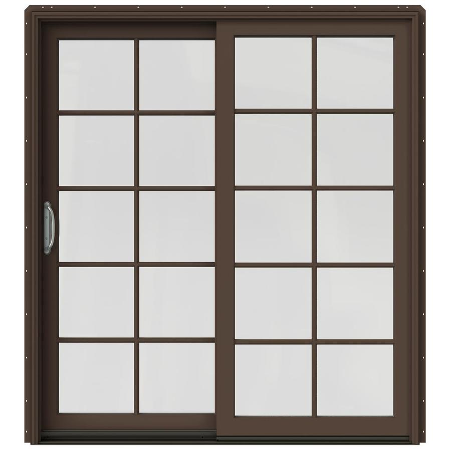 JELD-WEN W-2500 71.25-in 10-Lite Glass Dark Chocolate Wood Sliding Patio Door with Screen