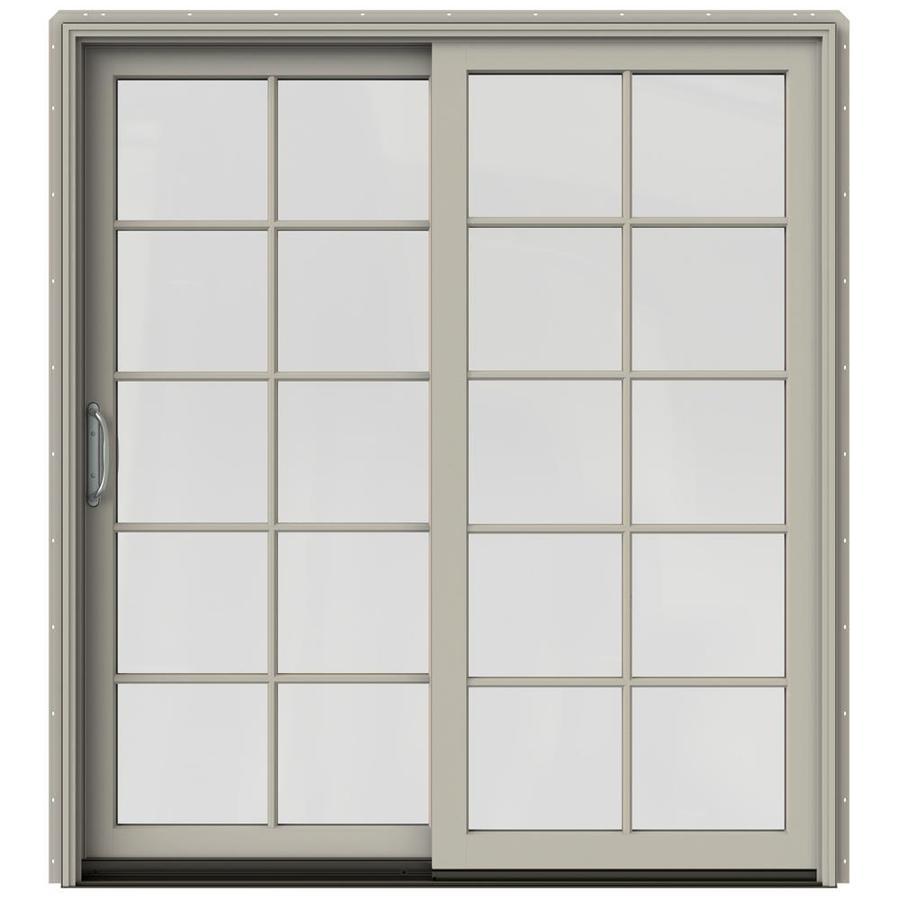 JELD-WEN W-2500 71.25-in 10-Lite Glass Desert Sand Wood Sliding Patio Door with Screen