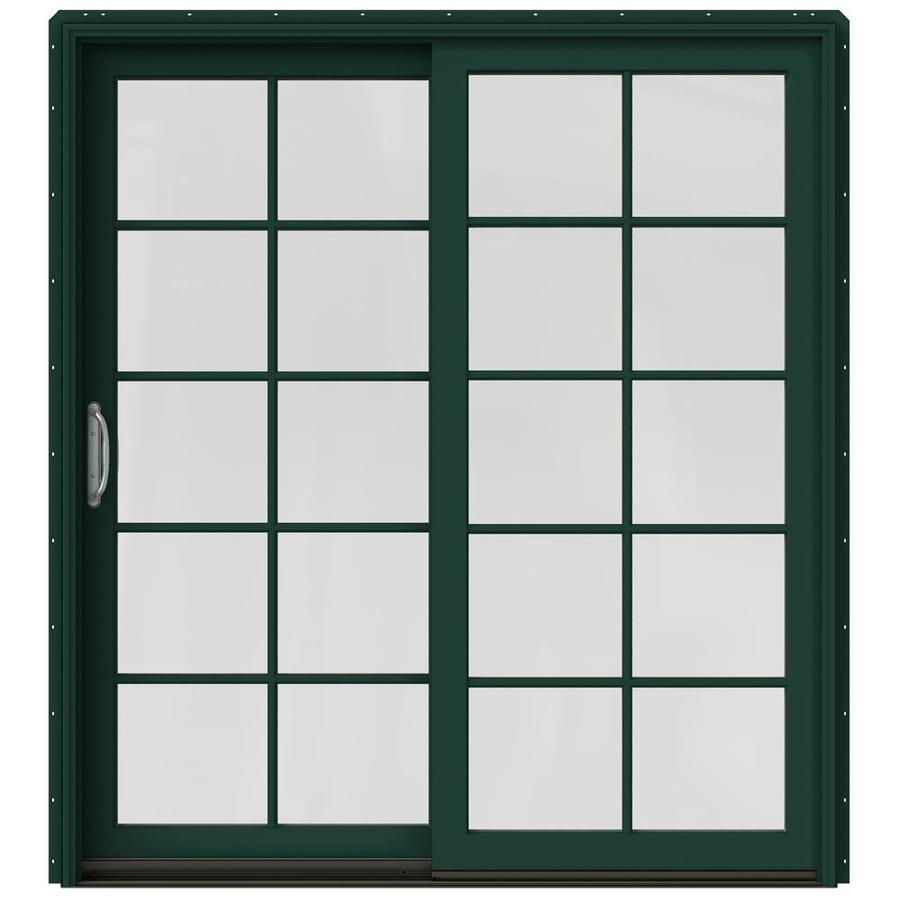 JELD-WEN W-2500 71.25-in 10-Lite Glass Hartford Green Wood Sliding Patio Door with Screen