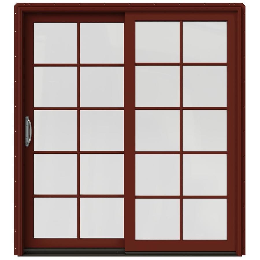 Shop jeld wen w 2500 10 lite glass mesa red wood for Wood sliding patio doors