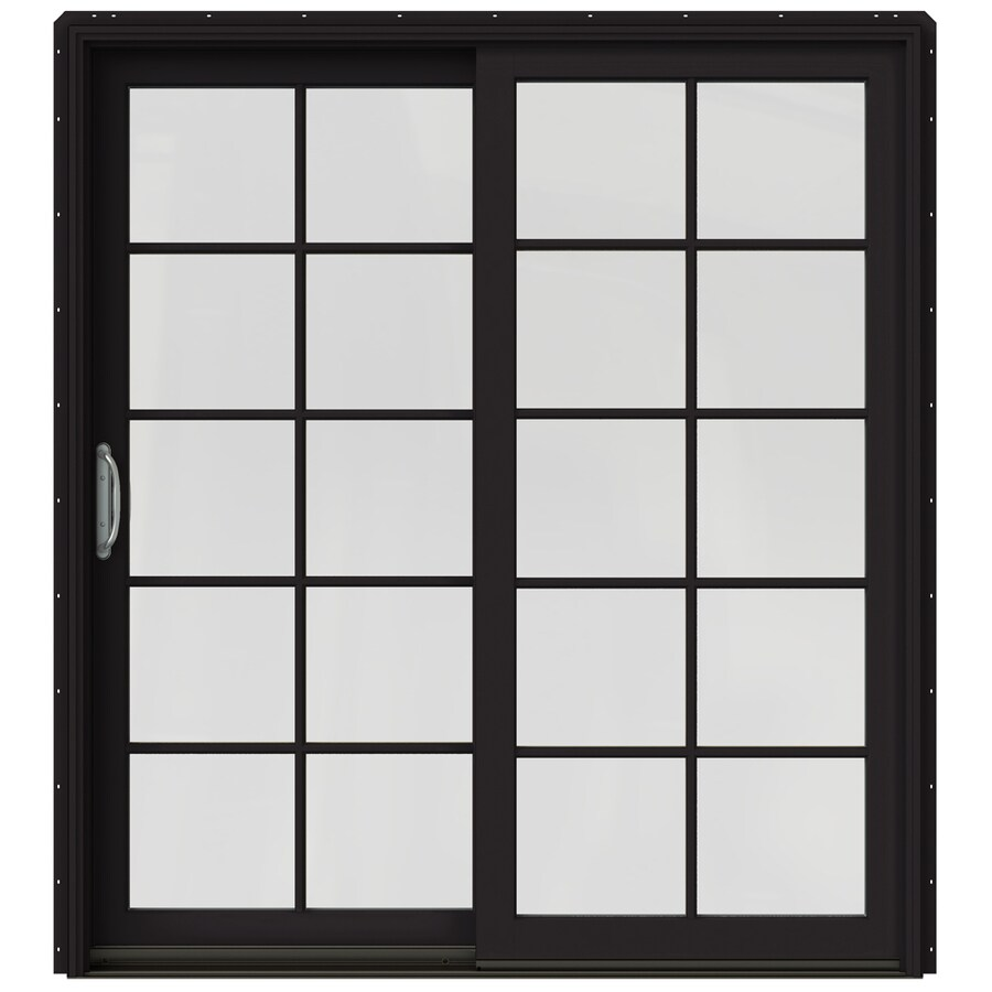 JELD-WEN W-2500 71.25-in 10-Lite Glass Black Wood Sliding Patio Door with Screen
