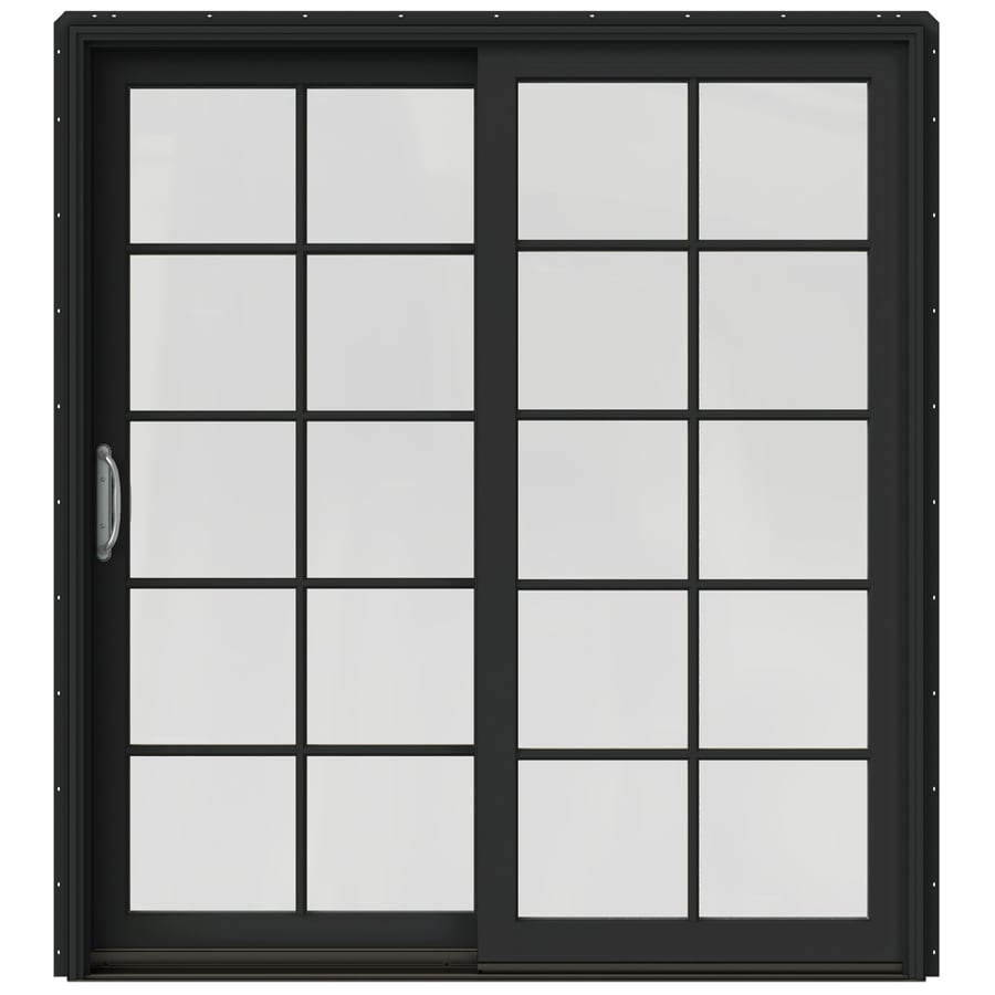 JELD-WEN W-2500 71.25-in 10-Lite Glass Chestnut Bronze Wood Sliding Patio Door with Screen