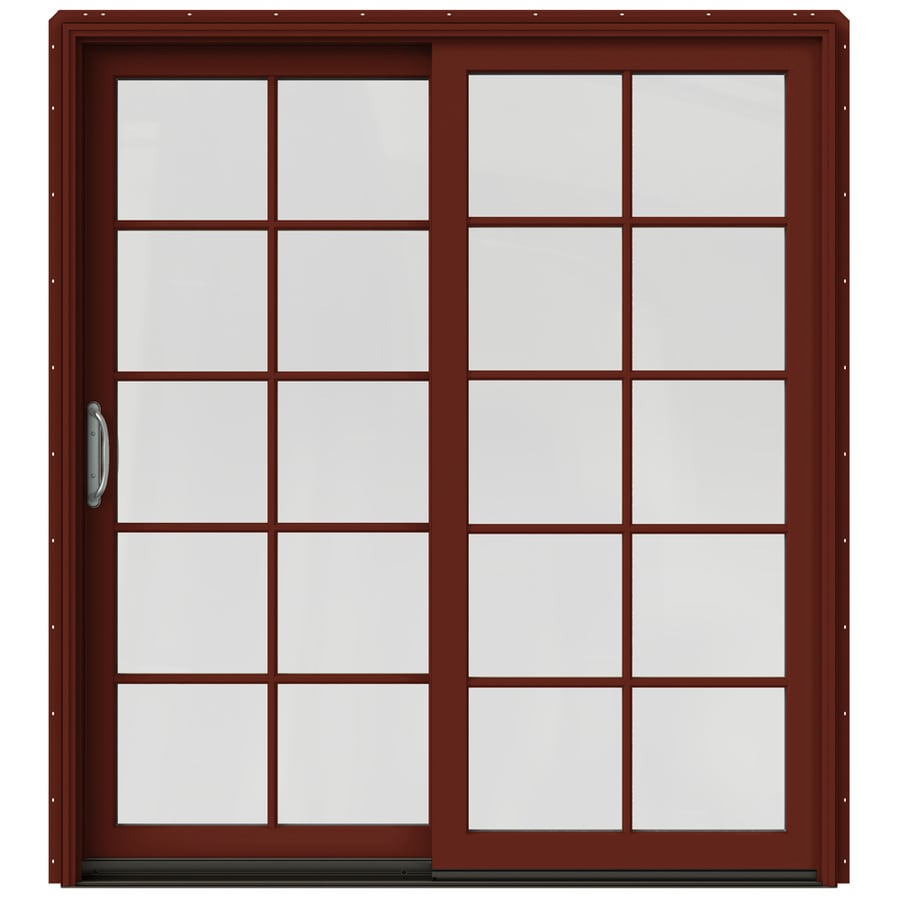 JELD-WEN W-2500 71.25-in 10-Lite Glass Mesa Red Wood Sliding Patio Door with Screen
