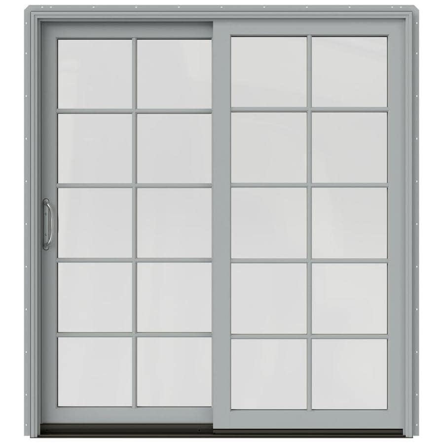 JELD-WEN W-2500 71.25-in 10-Lite Glass Artict Silver Wood Sliding Patio Door with Screen