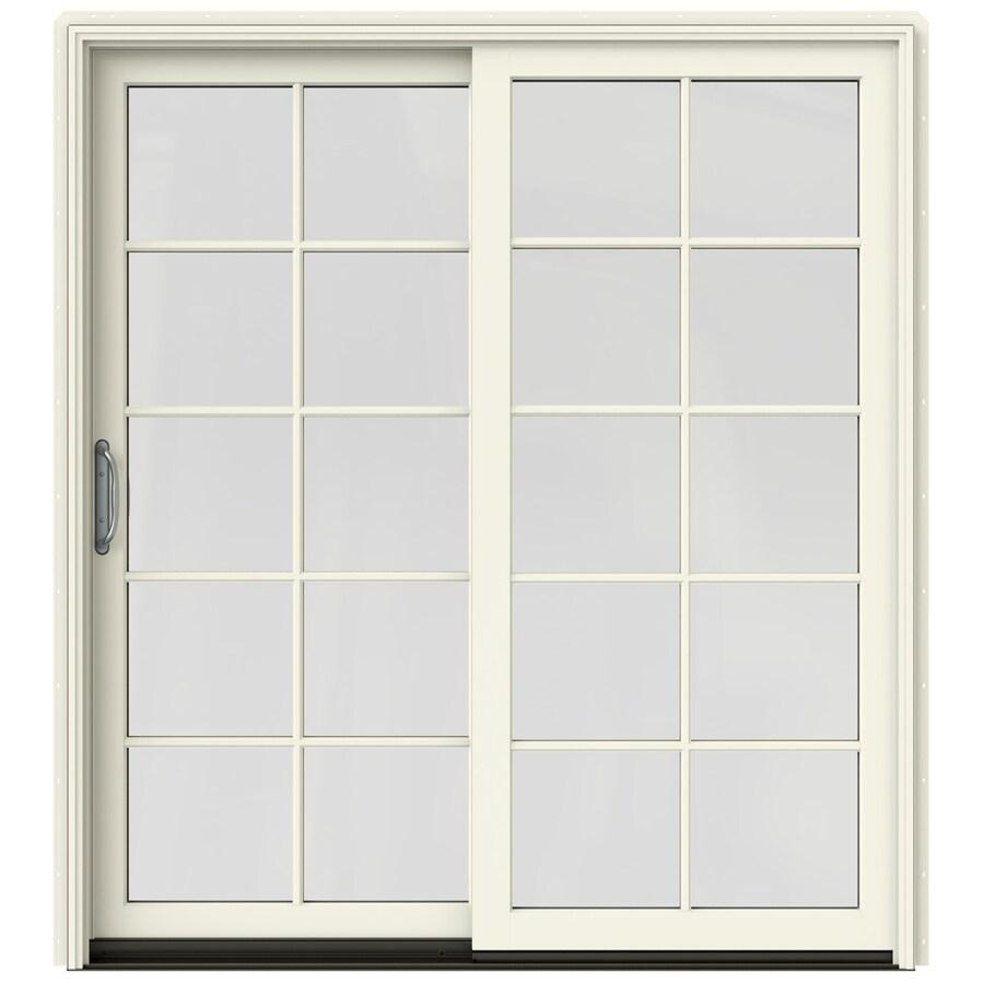JELD-WEN W-2500 71.25-in 10-Lite Glass French Vanilla Wood Sliding Patio Door with Screen