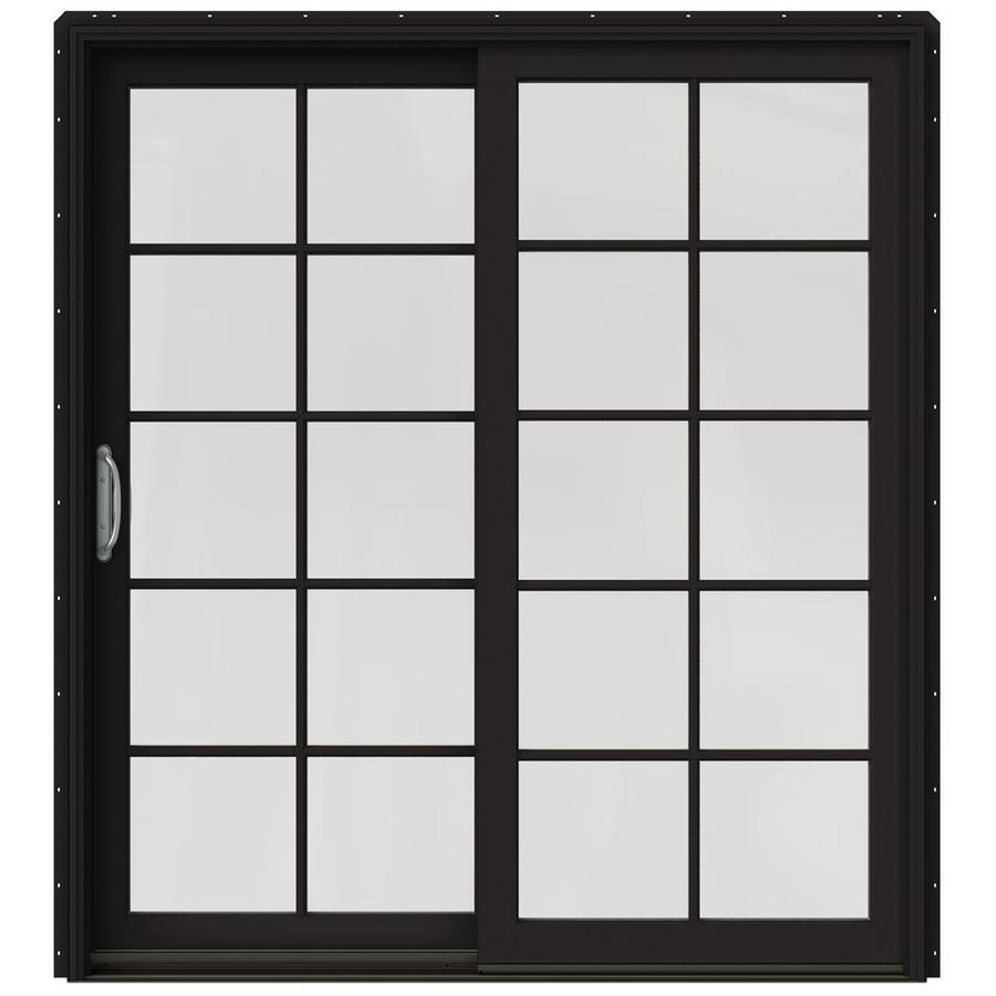 JELD-WEN W-2500 71.25-in x 79.5-in Left-Hand Black Sliding Patio Door with Screen
