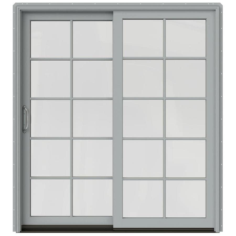 JELD-WEN W-2500 71.25-in x 79.5-in Left-Hand Silver Sliding Patio Door with Screen