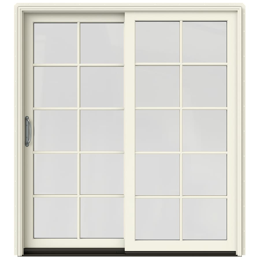 JELD-WEN W-2500 71.25-in 10-Lite Glass French Vanilla Wood Sliding Patio Door with Screen