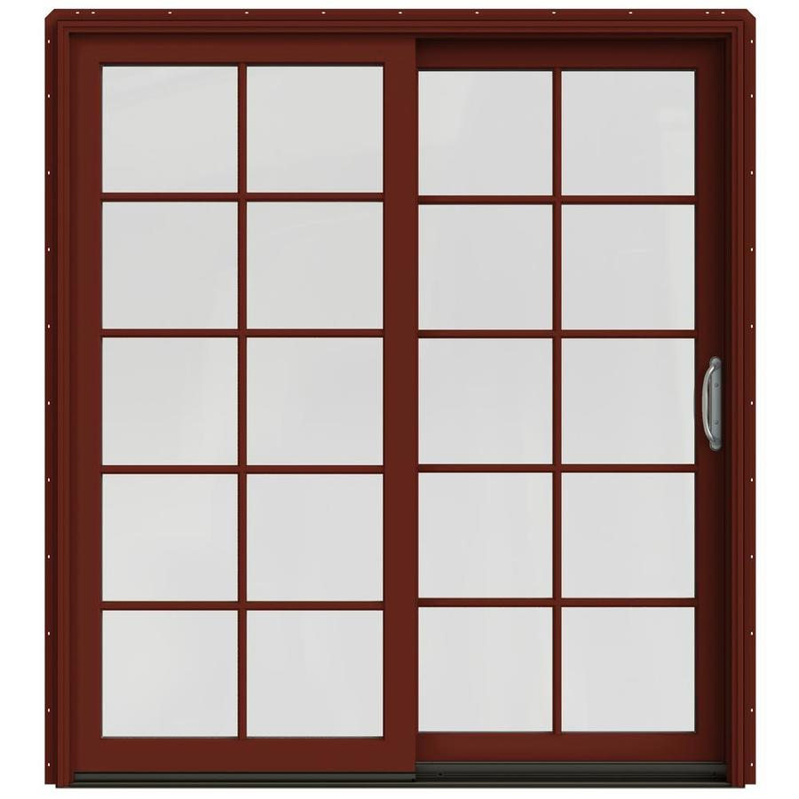 JELD-WEN W-2500 71.25-in 10-Lite Glass Mesa Red Wood Sliding Patio Door with Screen