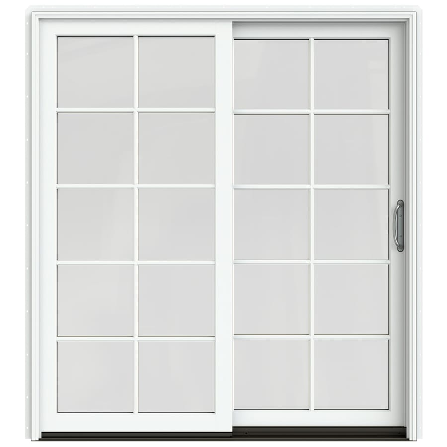 JELD-WEN W-2500 71.25-in 10-Lite Glass Brilliant White Wood Sliding Patio Door with Screen