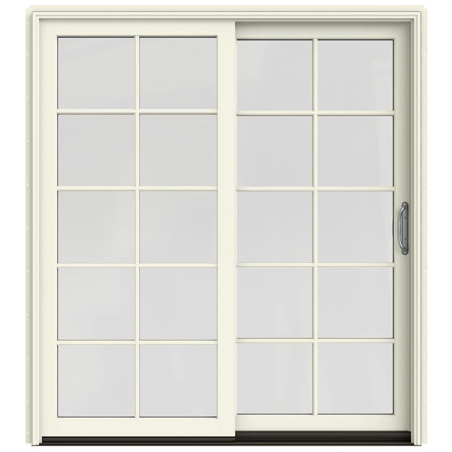 Shop jeld wen w 2500 10 lite glass french vanilla for Hardwood patio doors