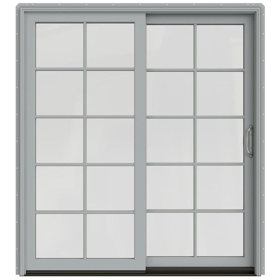 JELD-WEN W-2500 71.25-in 10-Lite Glass Artict Silver Wood Sliding Patio Door with Screen