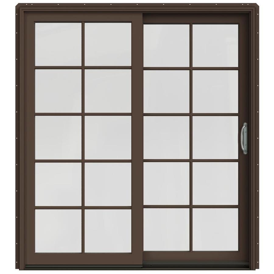 JELD-WEN W-2500 71.25-in 10-Lite Glass Dark Chocolate Wood Sliding Patio Door with Screen
