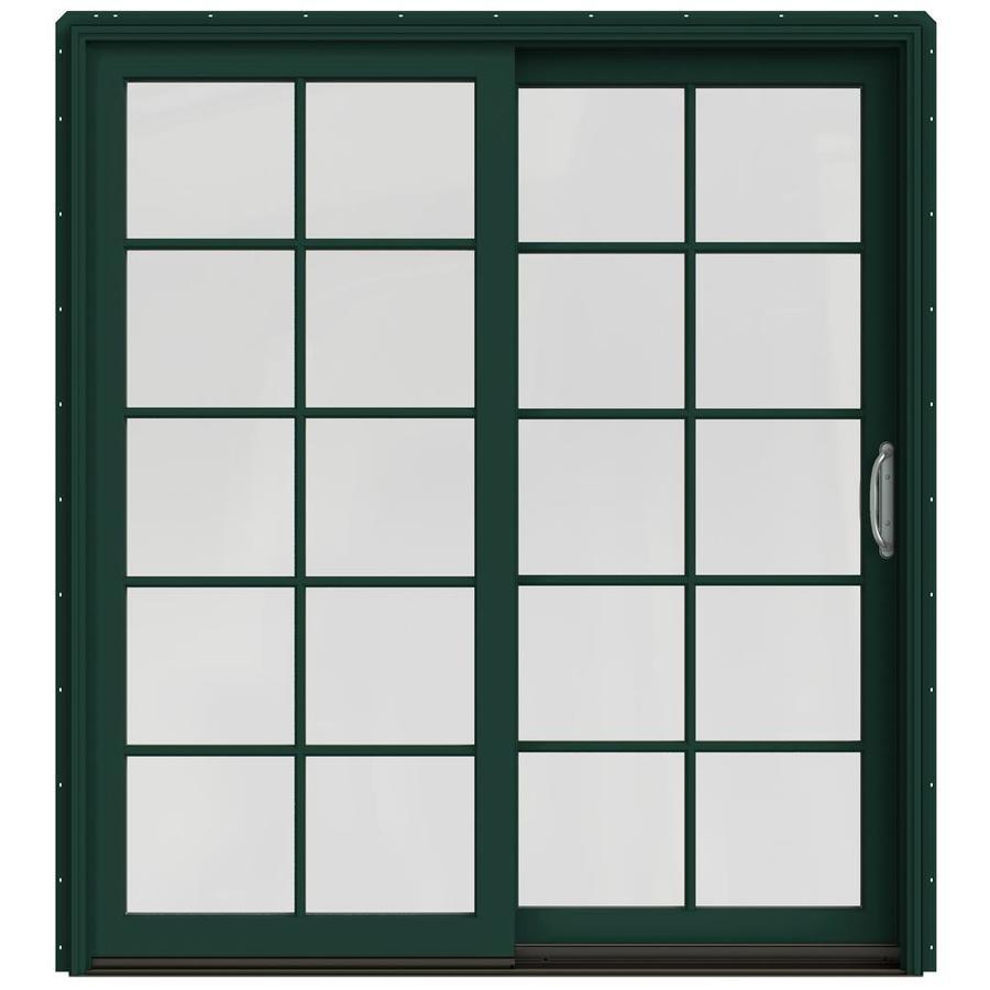 JELD-WEN W-2500 71.25-in 10-Lite Glass Hartford Green Wood Sliding Patio Door with Screen