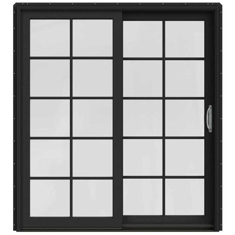 JELD-WEN W-2500 71.25-in 10-Lite Glass Chestnut Bronze Wood Sliding Patio Door with Screen
