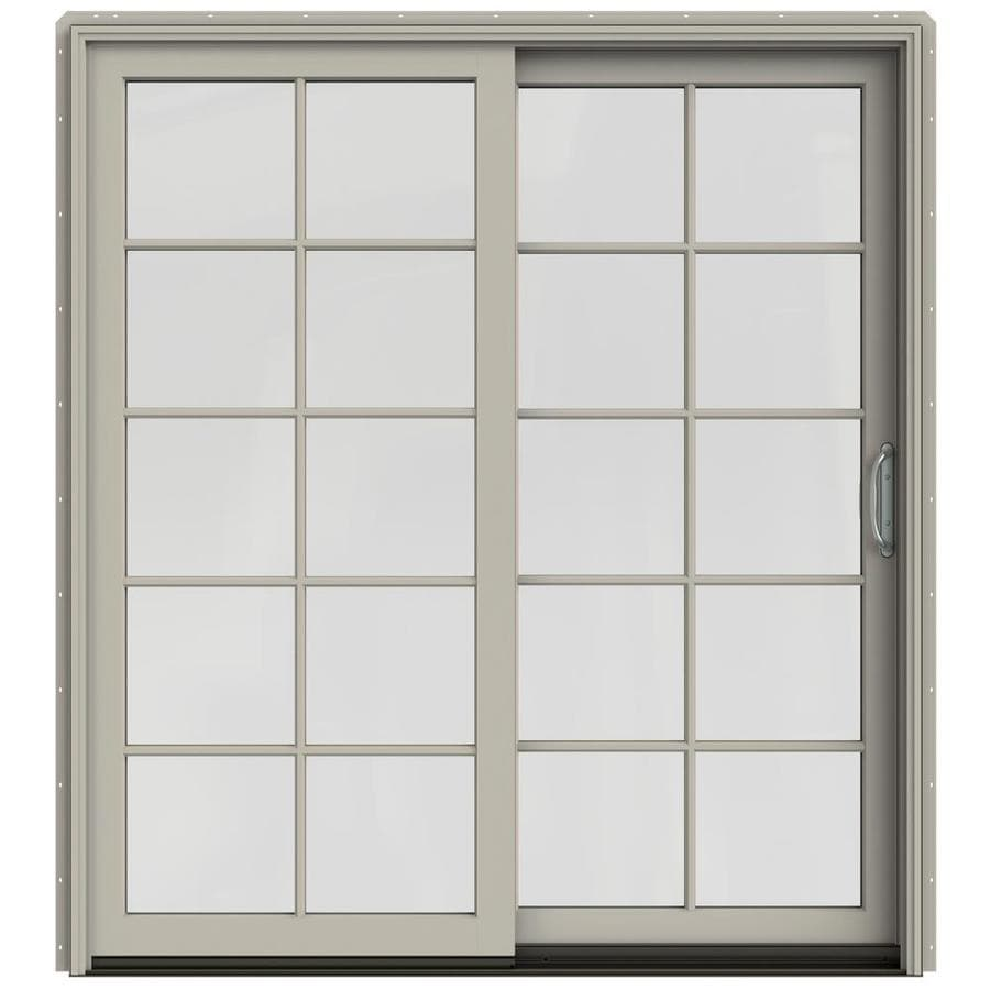 JELD-WEN W-2500 71.25-in 10-Lite Glass Desert Sand Wood Sliding Patio Door with Screen