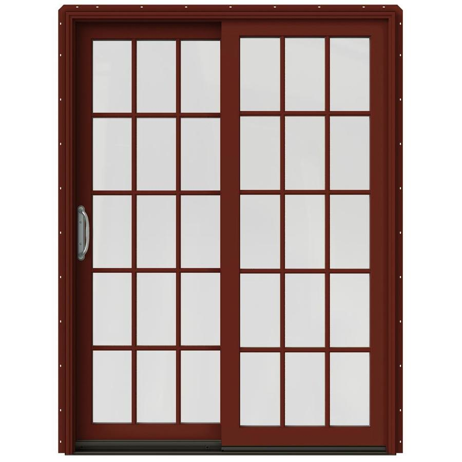 JELD-WEN W-2500 59.25-in 15-Lite Glass Mesa Red Wood Sliding Patio Door with Screen