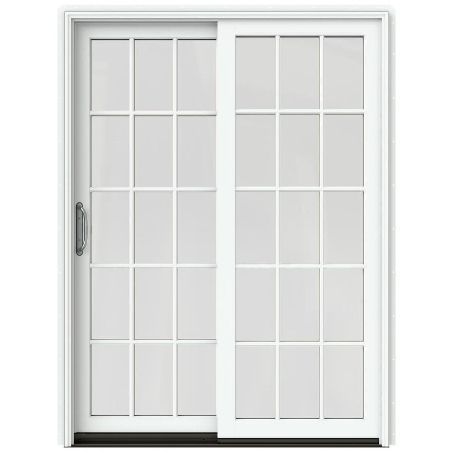 JELD-WEN W-2500 59.25-in 15-Lite Glass Brilliant White Wood Sliding Patio Door with Screen