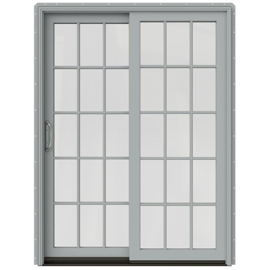 JELD-WEN W-2500 59.25-in 15-Lite Glass Artict Silver Wood Sliding Patio Door with Screen