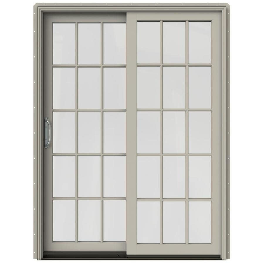 JELD-WEN W-2500 59.25-in 15-Lite Glass Desert Sand Wood Sliding Patio Door with Screen