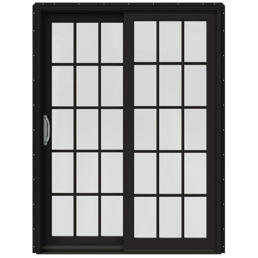 JELD-WEN W-2500 59.25-in 15-Lite Glass Black Wood Sliding Patio Door with Screen
