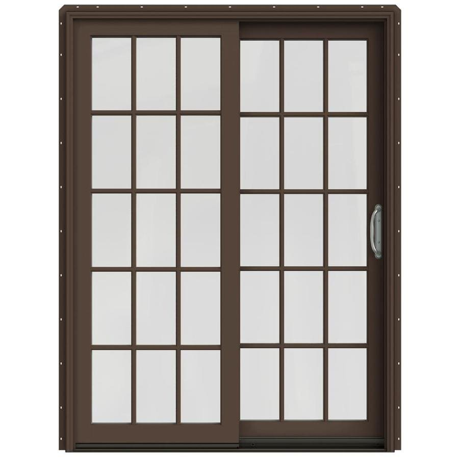 JELD-WEN W-2500 59.25-in 15-Lite Glass Dark Chocolate Wood Sliding Patio Door with Screen