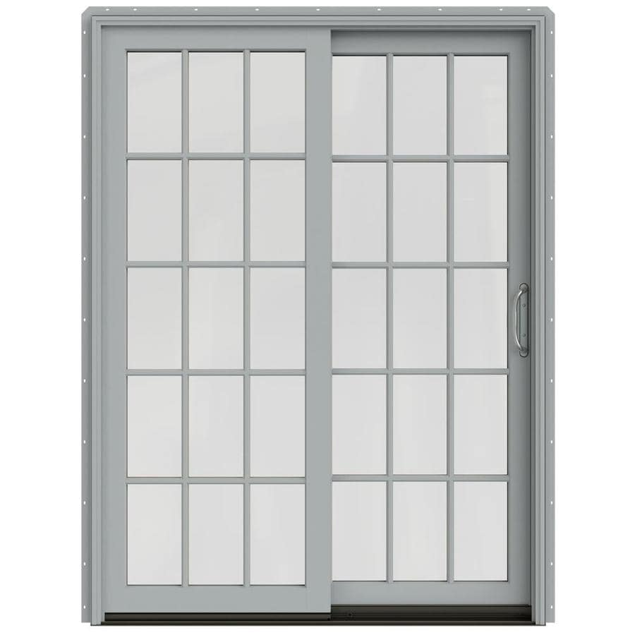 Shop jeld wen w 2500 15 lite glass artict silver for Hardwood patio doors