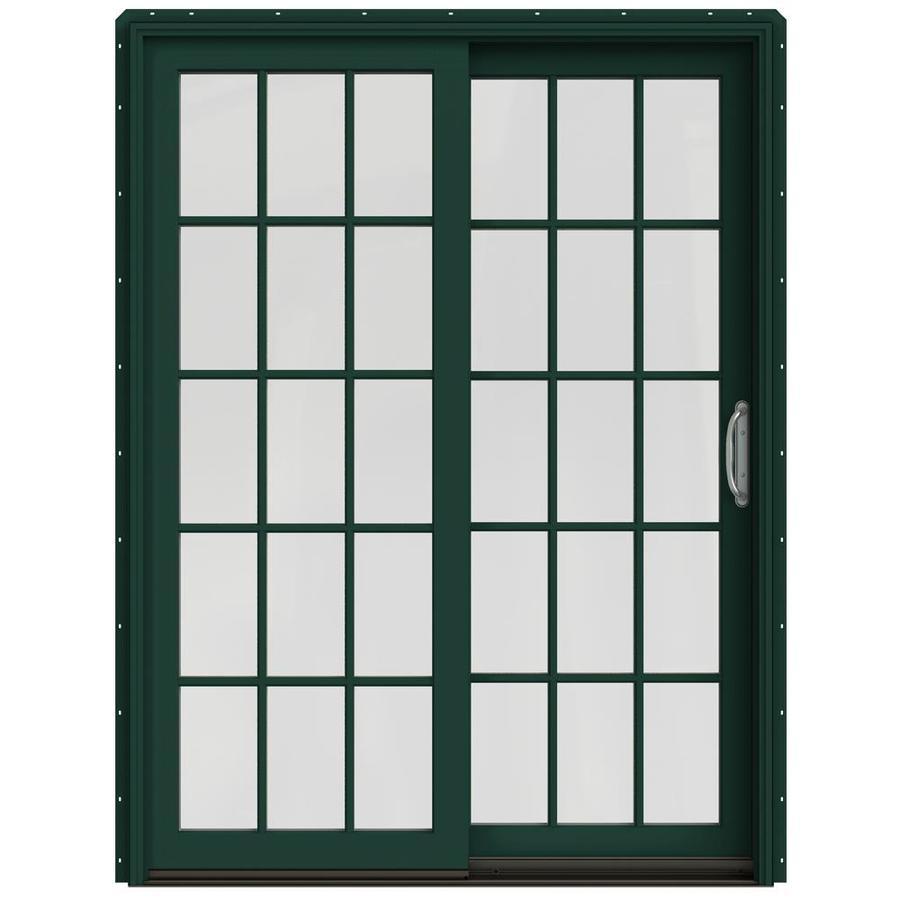 JELD-WEN W-2500 59.25-in x 79.5-in Right-Hand Green Sliding Patio Door with Screen
