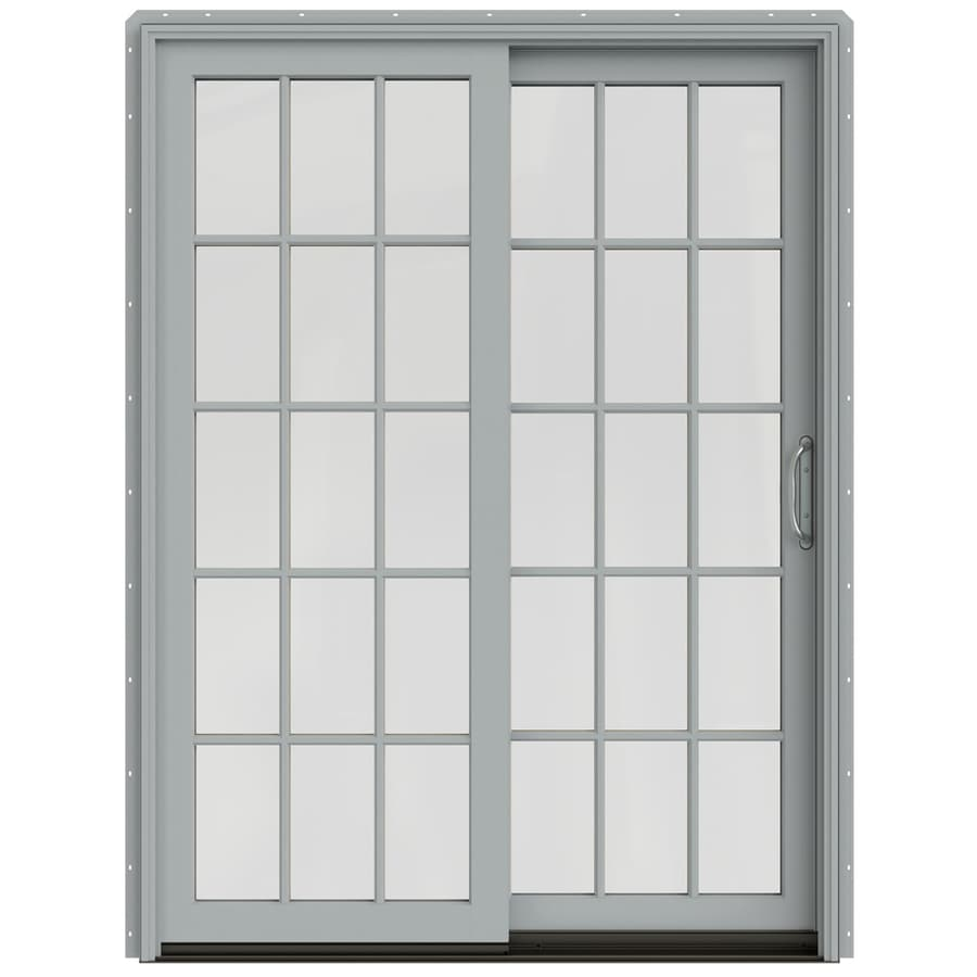 JELD-WEN W-2500 59.25-in 15-Lite Glass Artict Silver Wood Sliding Patio Door with Screen