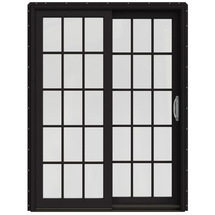 JELD-WEN W-2500 59.25-in 15-Lite Glass Black Wood Sliding Patio Door with Screen