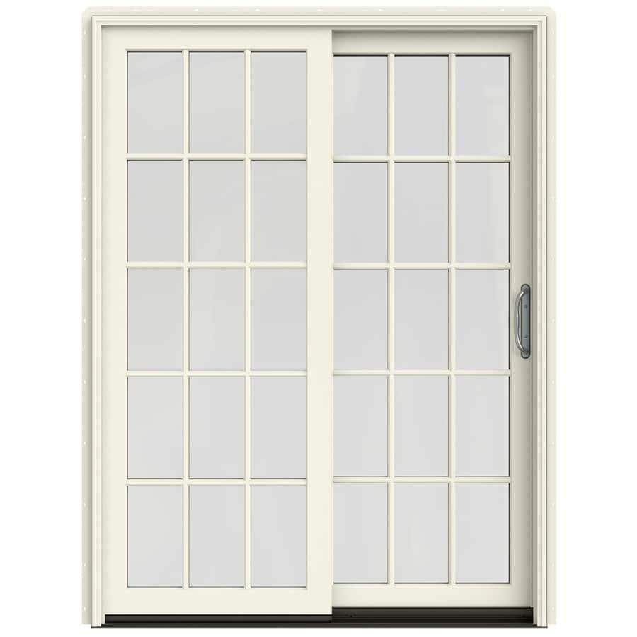 JELD-WEN W-2500 59.25-in 15-Lite Glass French Vanilla Wood Sliding Patio Door with Screen