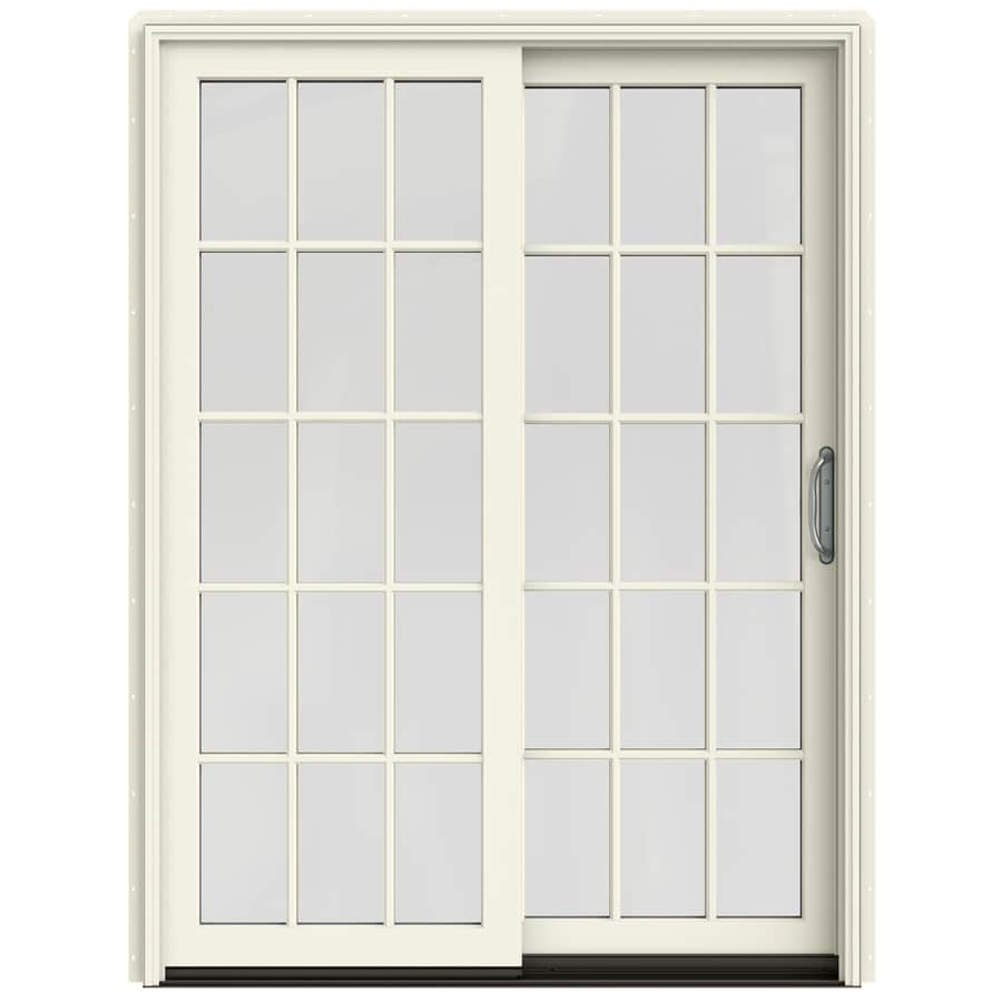 JELD-WEN W-2500 59.25-in 15-Lite Glass French Vanilla Wood Sliding Patio Door with Screen