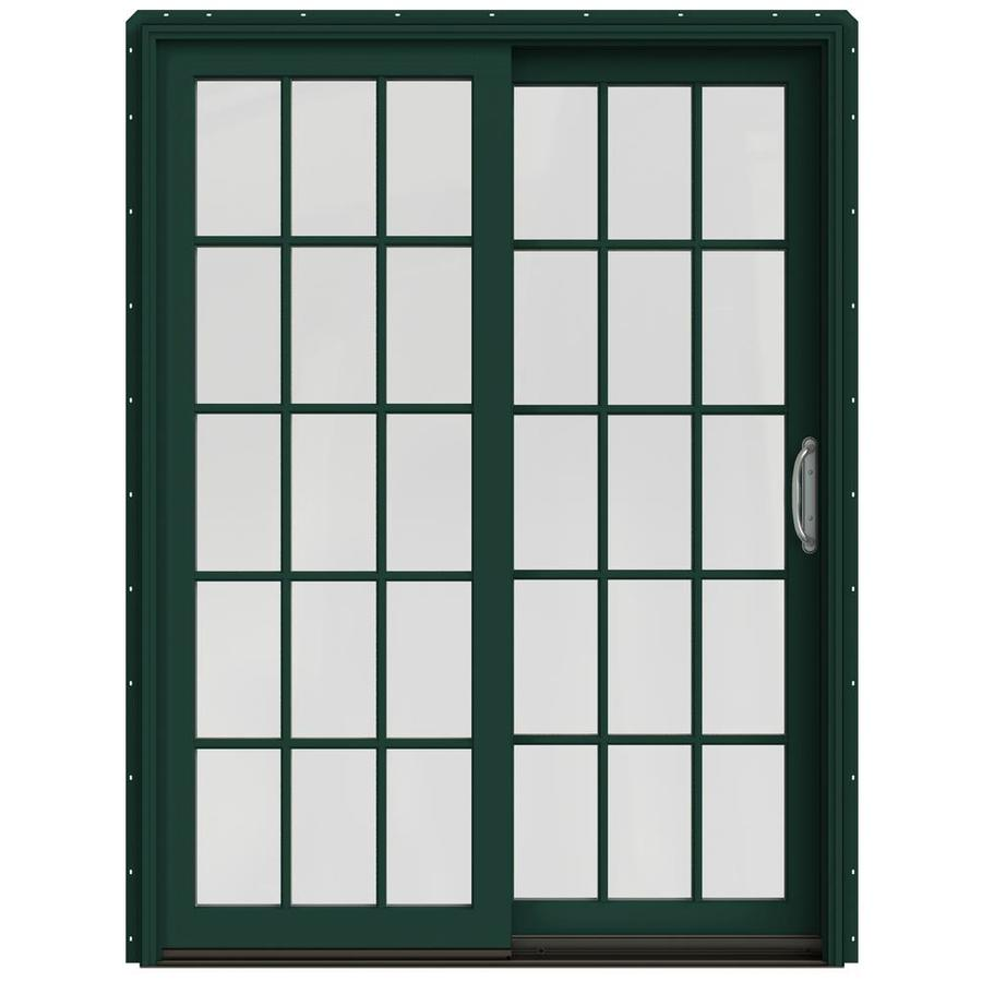 JELD-WEN W-2500 59.25-in 15-Lite Glass Hartford Green Wood Sliding Patio Door with Screen