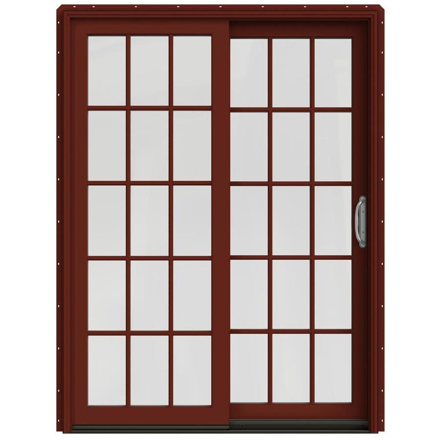 JELD-WEN W-2500 59.25-in x 79.5-in Right-Hand Red Sliding Patio Door with Screen