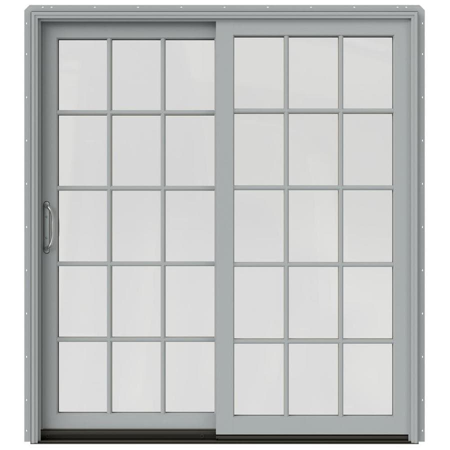 JELD-WEN W-2500 71.25-in 15-Lite Glass Artict Silver Wood Sliding Patio Door with Screen