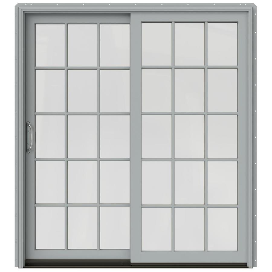 JELD-WEN W-2500 71.25-in 15-Lite Glass Artict Silver Wood Sliding Patio Door with Screen