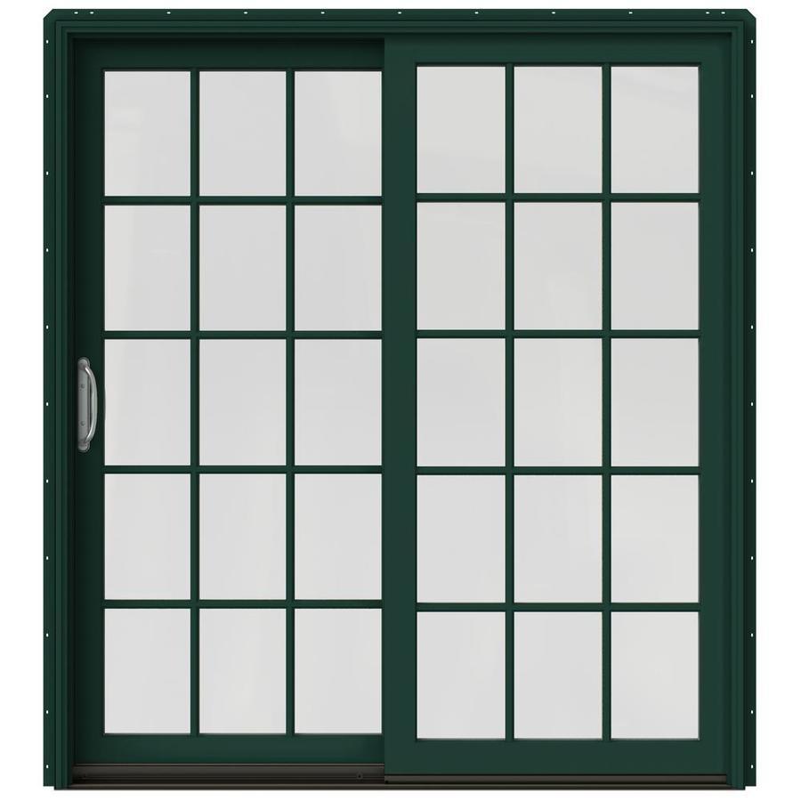JELD-WEN W-2500 71.25-in 15-Lite Glass Hartford Green Wood Sliding Patio Door with Screen