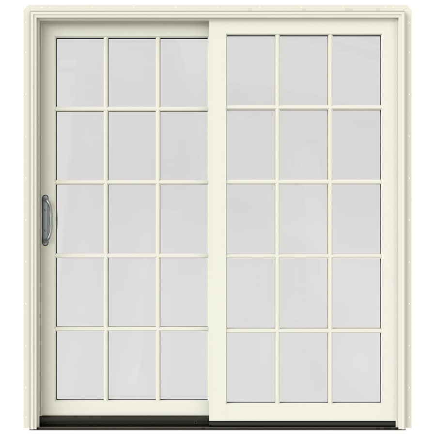 25 in 15 lite glass french vanilla wood sliding patio door with screen