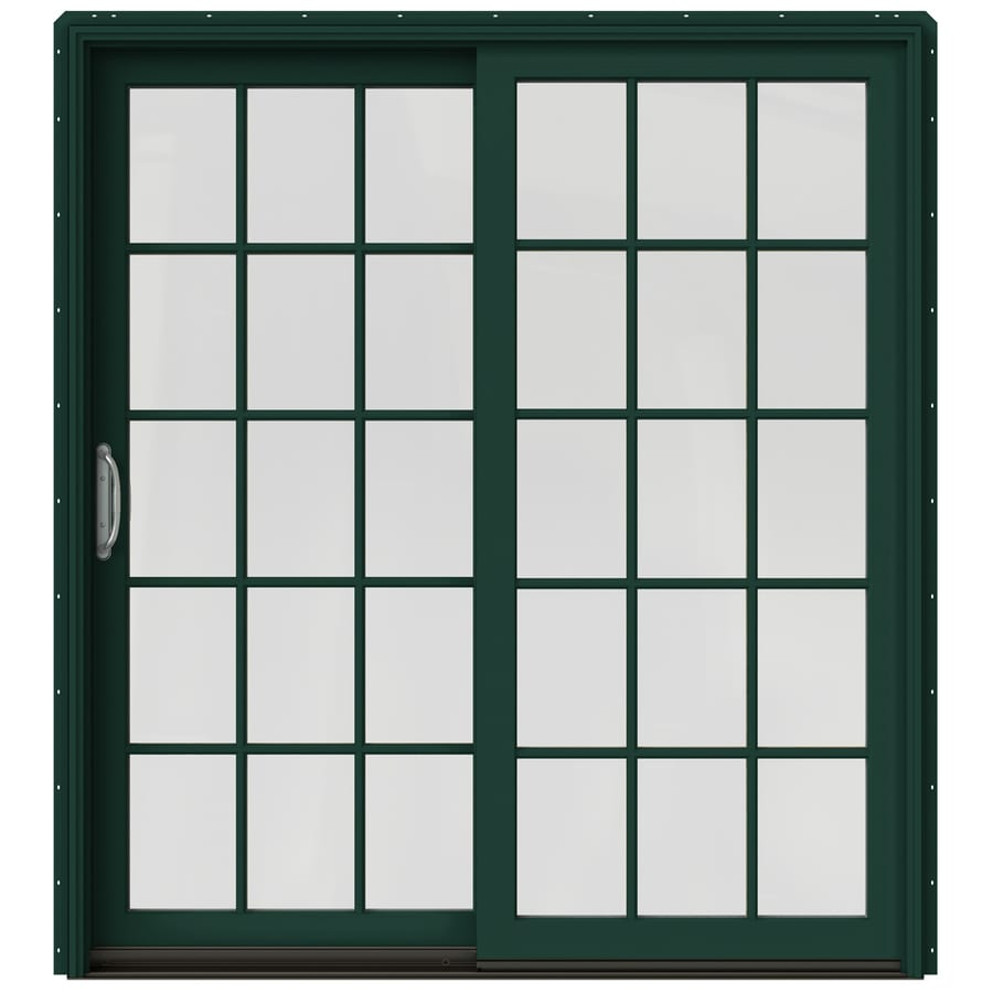 JELD-WEN W-2500 71.25-in 15-Lite Glass Hartford Green Wood Sliding Patio Door with Screen
