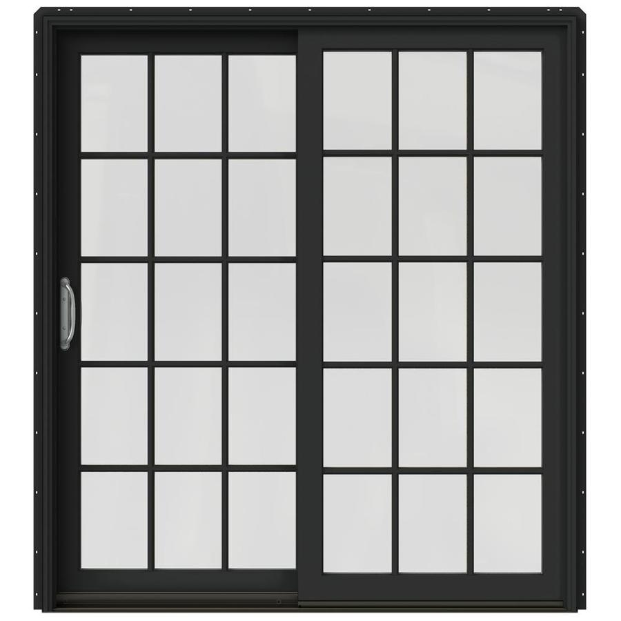 JELD-WEN W-2500 71.25-in 15-Lite Glass Chestnut Bronze Wood Sliding Patio Door Screen Included