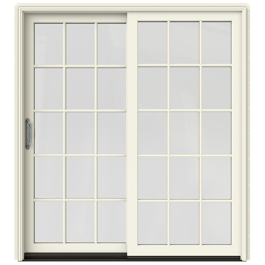 Shop jeld wen w 2500 15 lite glass french vanilla for French door sliding screen