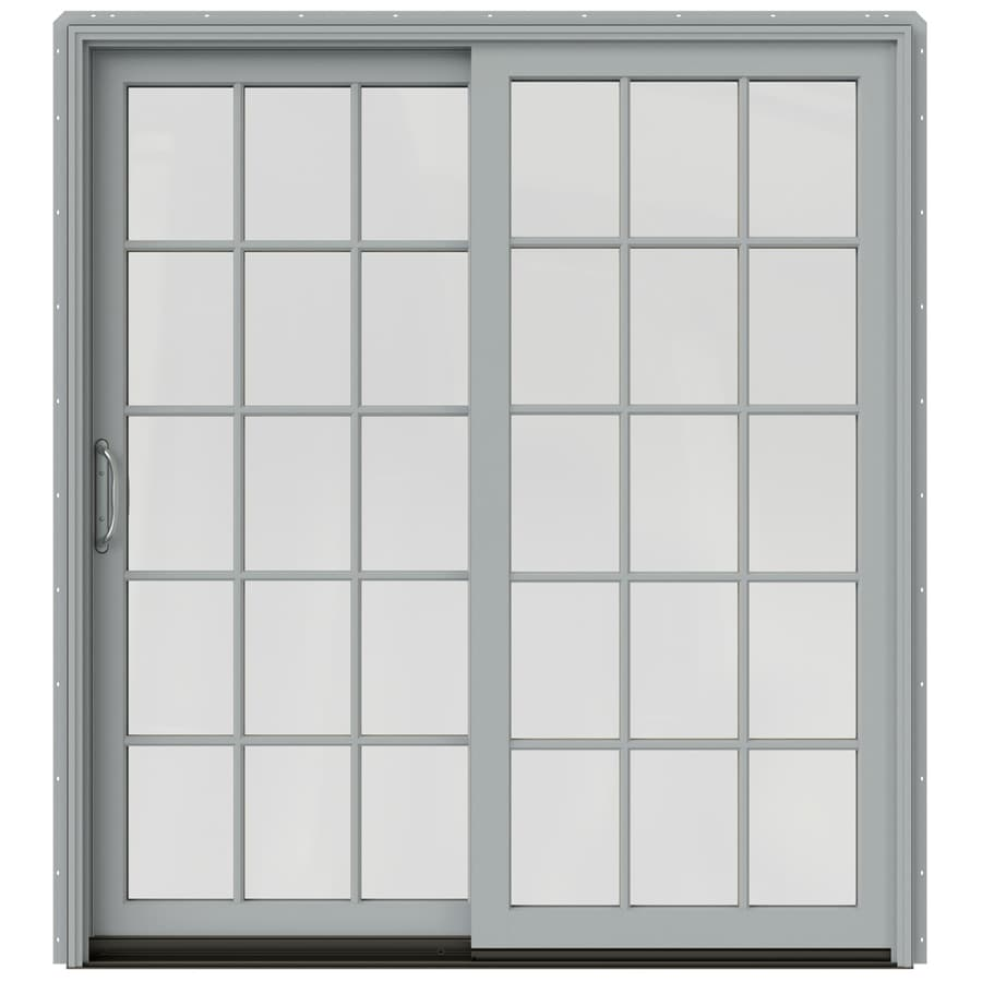 JELD-WEN W-2500 71.25-in 15-Lite Glass Arctic Silver Wood Sliding Patio Door with Screen