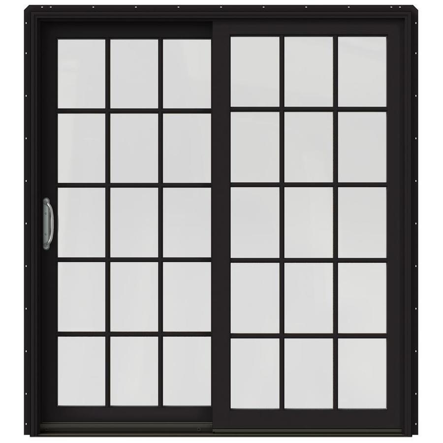 JELD-WEN W-2500 71.25-in 15-Lite Glass Black Wood Sliding Patio Door with Screen