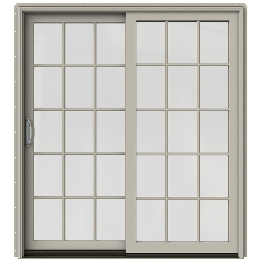 JELD-WEN W-2500 71.25-in 15-Lite Glass Desert Sand Wood Sliding Patio Door Screen Included