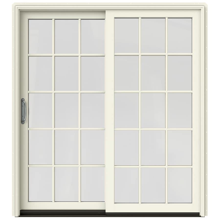 JELD-WEN W-2500 71.25-in 15-Lite Glass French Vanilla Wood Sliding Patio Door with Screen