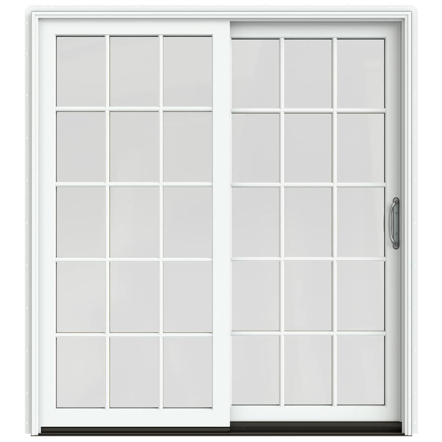 JELD-WEN W-2500 71.25-in 15-Lite Glass Brilliant White Wood Sliding Patio Door with Screen